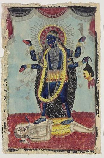 Goddess-Kali-Dancing-on-Shiva-Bengal-1860s