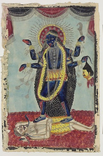 Goddess-Kali-Dancing-on-Shiva-Bengal-1860s